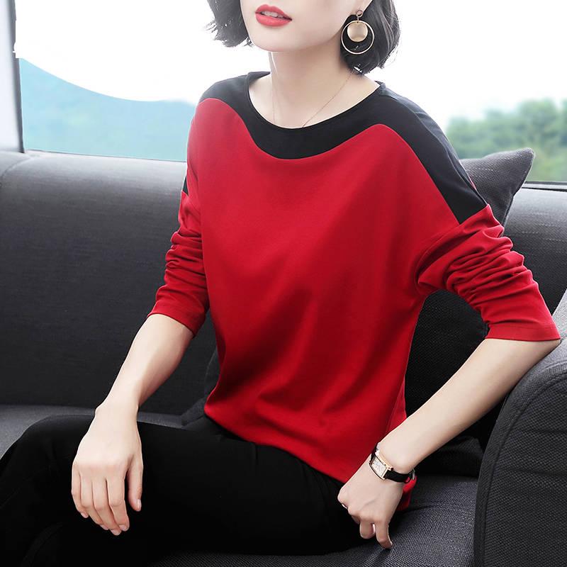純棉春季大碼長袖t恤女2020新款韓版寬松遮肚減齡女裝上衣