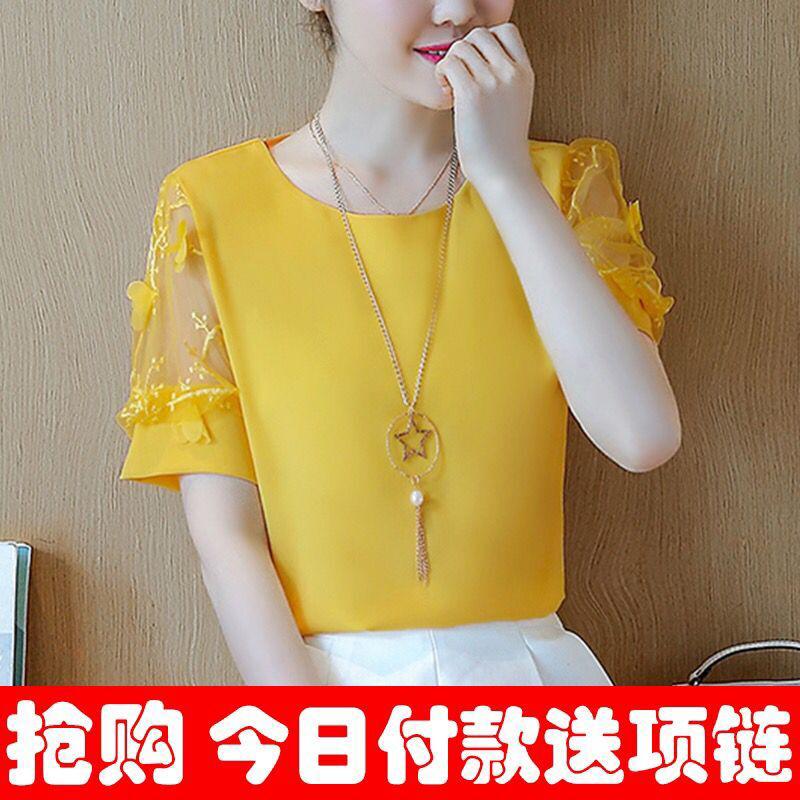 Áo sơ mi chiffon ngắn tay áo 2018 mới thời trang nước ngoài nhỏ áo sơ mi Hàn Quốc ren khí áo ngọt giảm béo t- áo sơ mi nữ