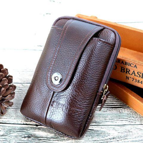 真皮手机腰包男士穿皮带竖款牛皮5.5寸多功能钱包腰挂扣包手机包