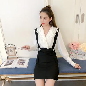 2018新款IU李智恩明星同款V领衬衫蕾丝上衣配吊带修身包臀裙套装