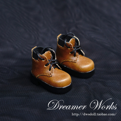 taobao agent 【DWS】SD/BJD doll 6 points shoes/baby shoes black and brown stitching lace-up ankle boots 1/6