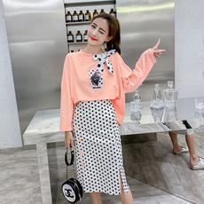 实拍现货2019春装新款韩版印花长袖T恤+波点半身裙两件套套装女
