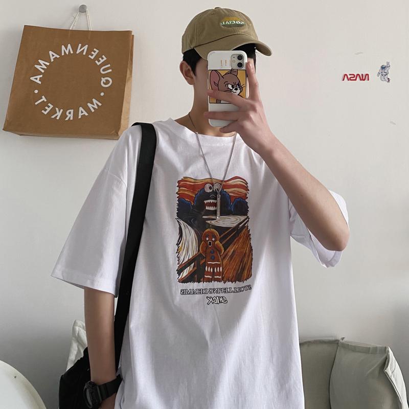 情侣夏季纯棉五分袖短袖T恤男女
