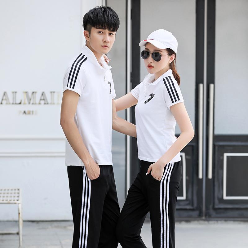 T恤春夏新款运动装套装男女情侣款女装两件套短袖长裤运动休闲装
