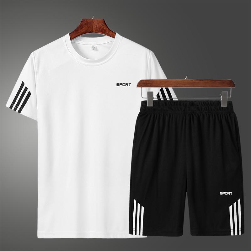 男士夏装短袖t恤套装休闲运动男装短裤