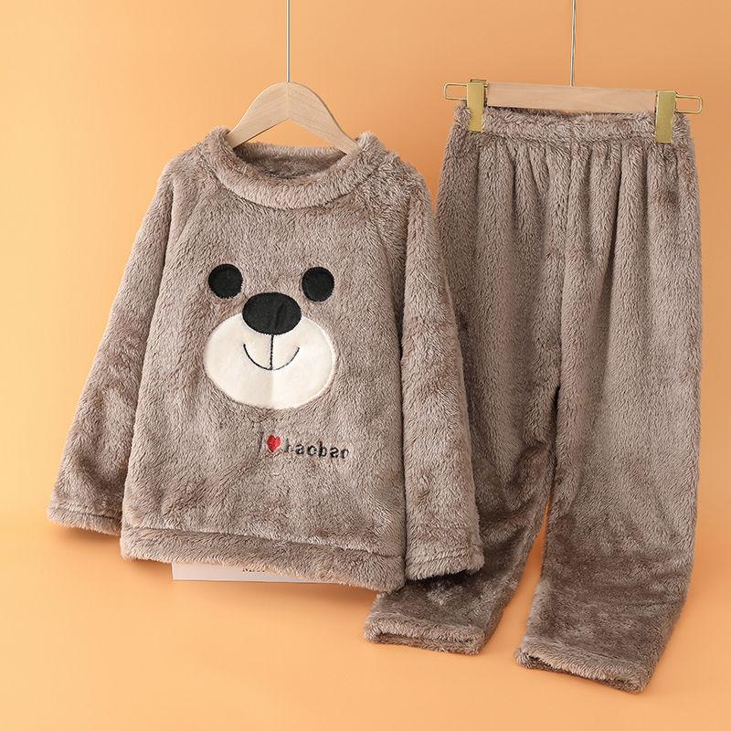 秋冬季〓儿童睡衣2件套男童女童长袖珊瑚绒套装小孩宝宝家居服