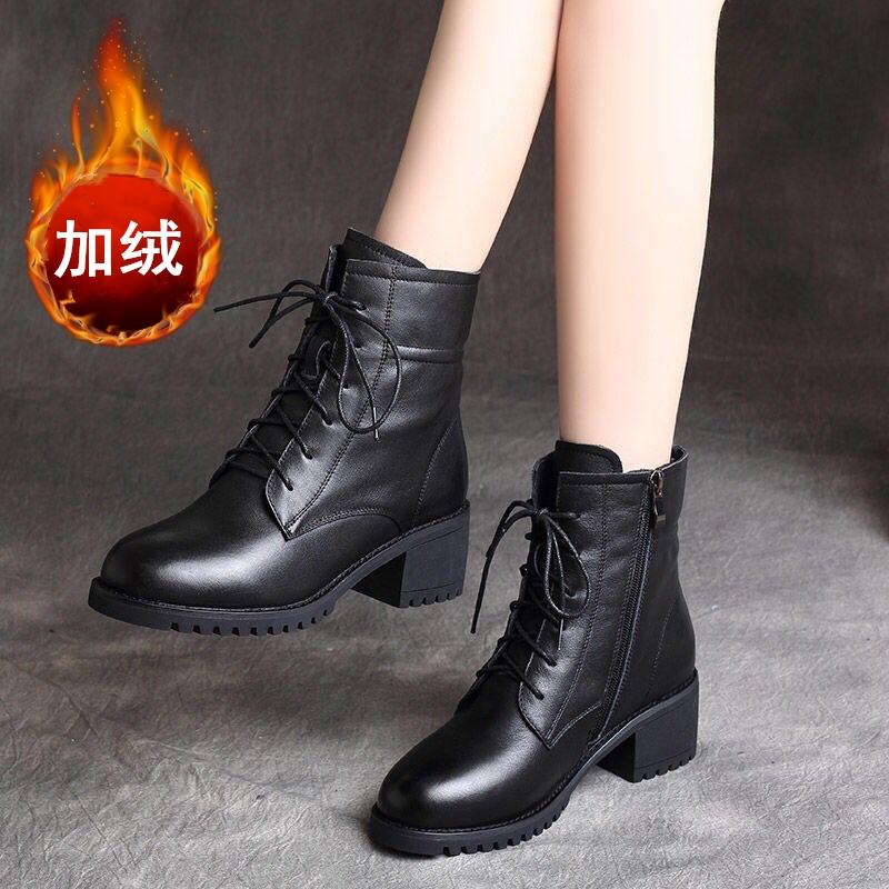 马丁靴冬季女短靴』加绒厚底中跟英伦风百搭粗跟妈妈鞋百搭女靴子潮