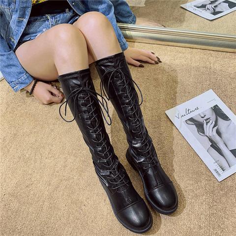 长靴女过膝靴2019新款秋季靴子ins百搭粗跟长筒秋款高筒骑士靴潮