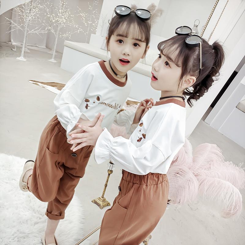 春秋纯棉运动卫衣网红小女孩两件套