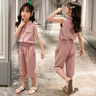 女童春夏无袖运动裤套装运动两件套休闲装