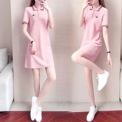 polo领大码连衣裙女夏季2021新款韩版小个子短袖中长款绣花T恤裙