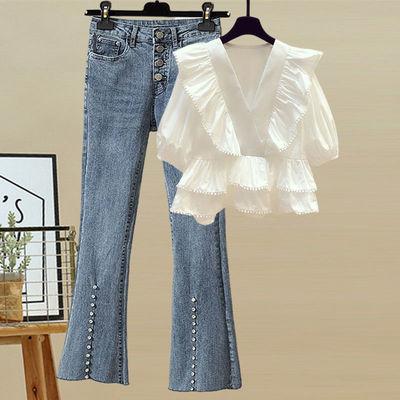 大码女装胖妹妹2021夏季新款复古气质荷叶边衬衫高腰显瘦微喇叭裤