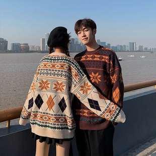 秋冬新款韓版日系外穿針織衫情侶裝