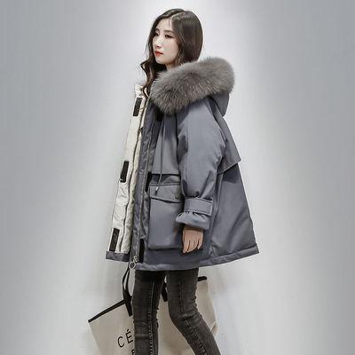 派克服女中长款韩版2020新款羽绒棉服女宽松加厚大毛领棉衣外套
