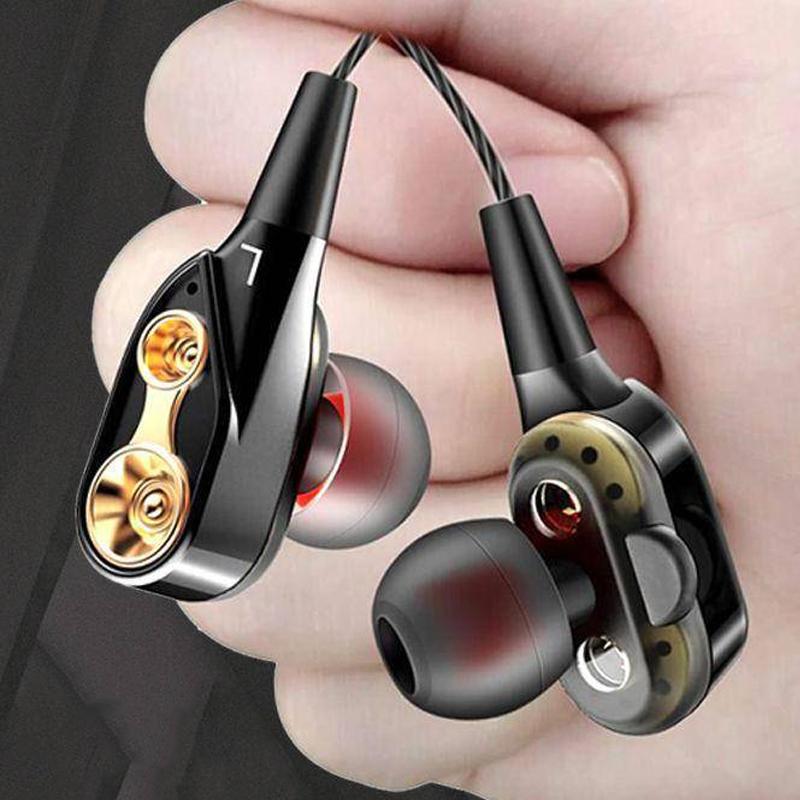 双动圈重低音耳机线适用OPPO华为vivo入耳式带麦K歌耳麦耳塞通用