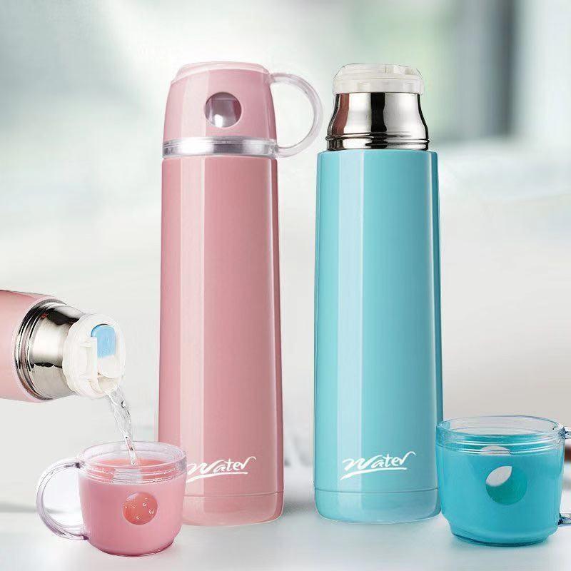 304大容量不锈钢�保温杯男女学生杯子韩版便携户外卡通带∏盖水杯壶