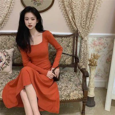 方领简约长袖针织连衣裙秋冬2020新款韩版打底气质高腰显瘦长裙的图片来自淘券快报,领券宝