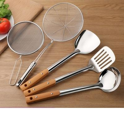 不锈钢厨具炒菜锅铲煎铲汤粥勺漏勺子套装家用厨房用品豆浆过滤网