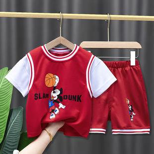 儿童运动夏季套装新款洋气宝宝篮球衣服男女