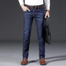 秋冬厚款牛仔裤男士宽松直筒弹性商务男装长裤大码男裤子6857