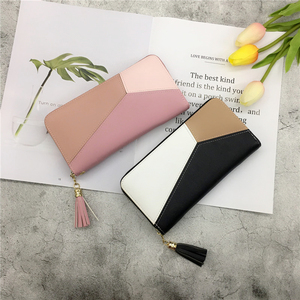 2018 mới của Nhật Bản và Hàn Quốc phiên bản của ví dài cá tính nữ khâu tương phản màu của phụ nữ dây kéo ly hợp túi thời trang điện thoại di động túi