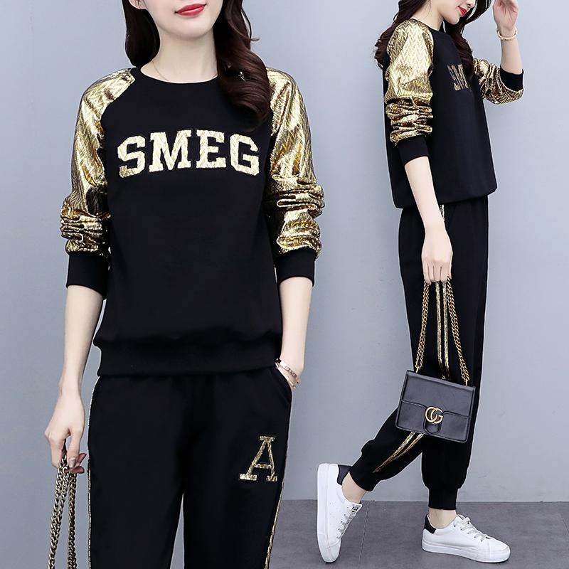 2021年春秋季大码女装新款长袖运动套装女时尚显瘦卫衣休闲两件套