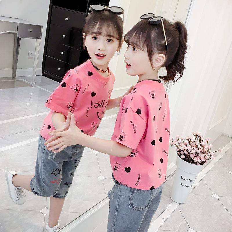 【100%纯棉】女童短袖T恤夏装新款儿童圆领薄款洋气上衣潮童装潮
