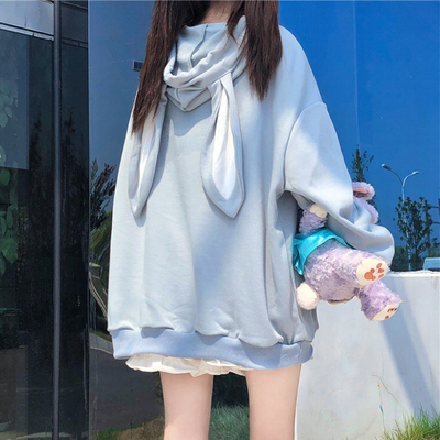 taobao agent Plus velvet sweater female Japanese cute rabbit ears loose padded jacket early autumn 2021 new ins tide