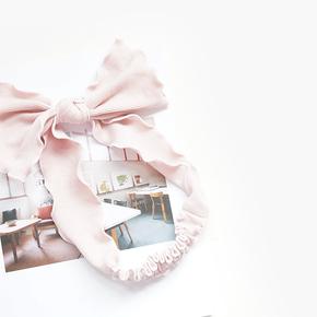 美少女发饰粉色居家木耳宽边蝴蝶结