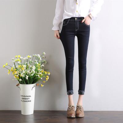 实拍2018春季新款字母翻边黑色紧身弹力牛仔裤女修身九分裤