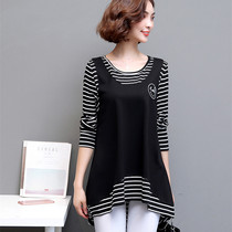Large size t-shirt female long sleeve bottoming shirt