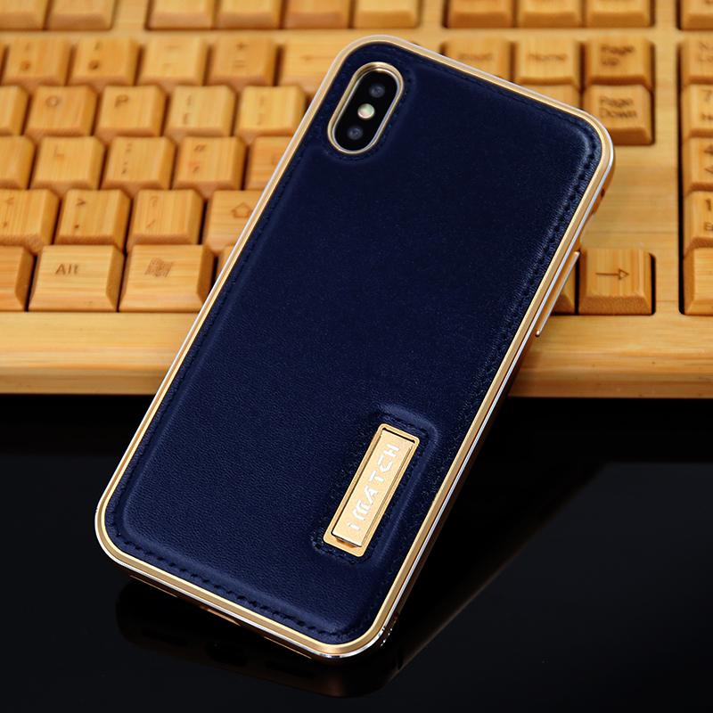 iMatch Luxury Aluminum Metal Bumper Premium Genuine Leather Back Cover Case for Apple iPhone X