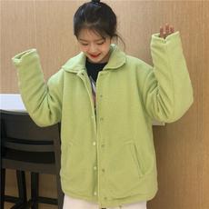 实拍实价 冬季韩版女装复古果绿色羊羔毛保暖棉衣夹克小棉袄外套