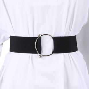 黑色腰带女士装饰简约韩版圆环腰封