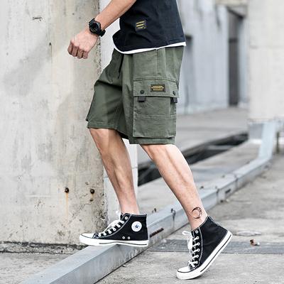 Mùa hè Nhật Bản thanh niên overalls quần short nam đa túi năm-quần lỏng triều thương hiệu quần âu Yu Wenle