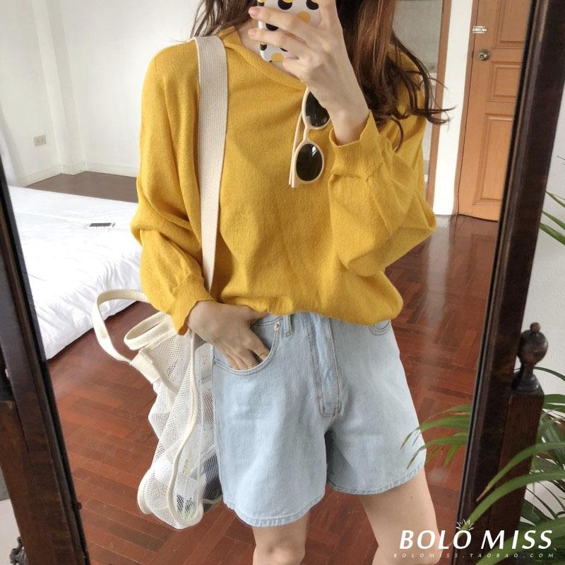 2018 đầu mùa thu Hàn Quốc chic retro phong cách rắn màu hoang dã lỏng dài tay đèn lồng tay áo áo len áo sơ mi nữ sinh viên