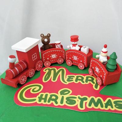 红色圣诞木头小火车圣诞节烘焙装扮用品甜品台小火车车厢