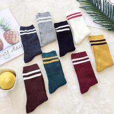 实拍实价~糖果色条纹堆堆袜短袜子4001