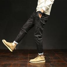 D实拍2018日系长裤小脚裤牛仔裤男韩版潮修身哈伦裤男士长裤D1802