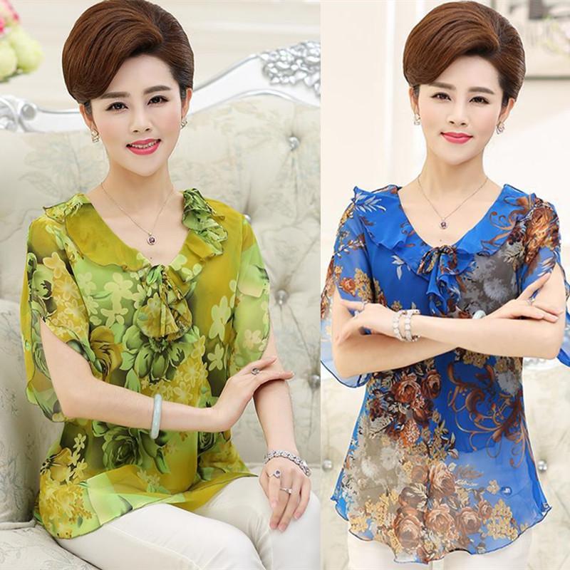 Phụ nữ trung niên của voan áo sơ mi lụa ngắn tay của phụ nữ mẹ nạp 40-50 tuổi lụa mùa hè T-Shirt top