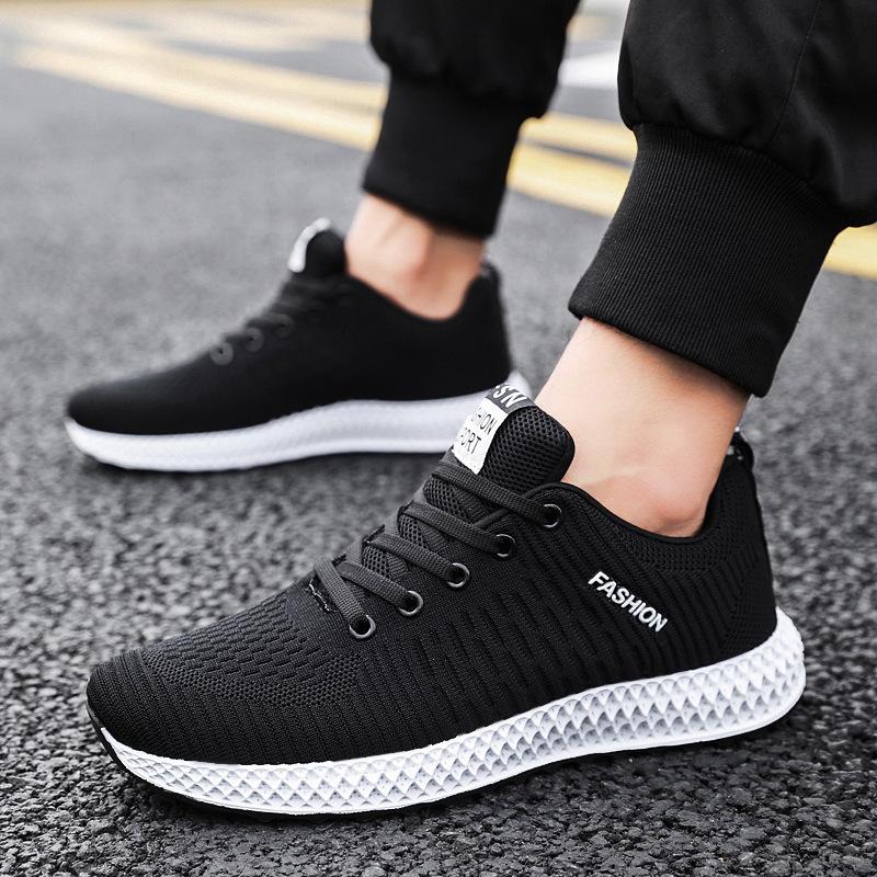 2019新款鞋透气学生男鞋休闲鞋子潮流网面男士飞织跑步运动鞋男