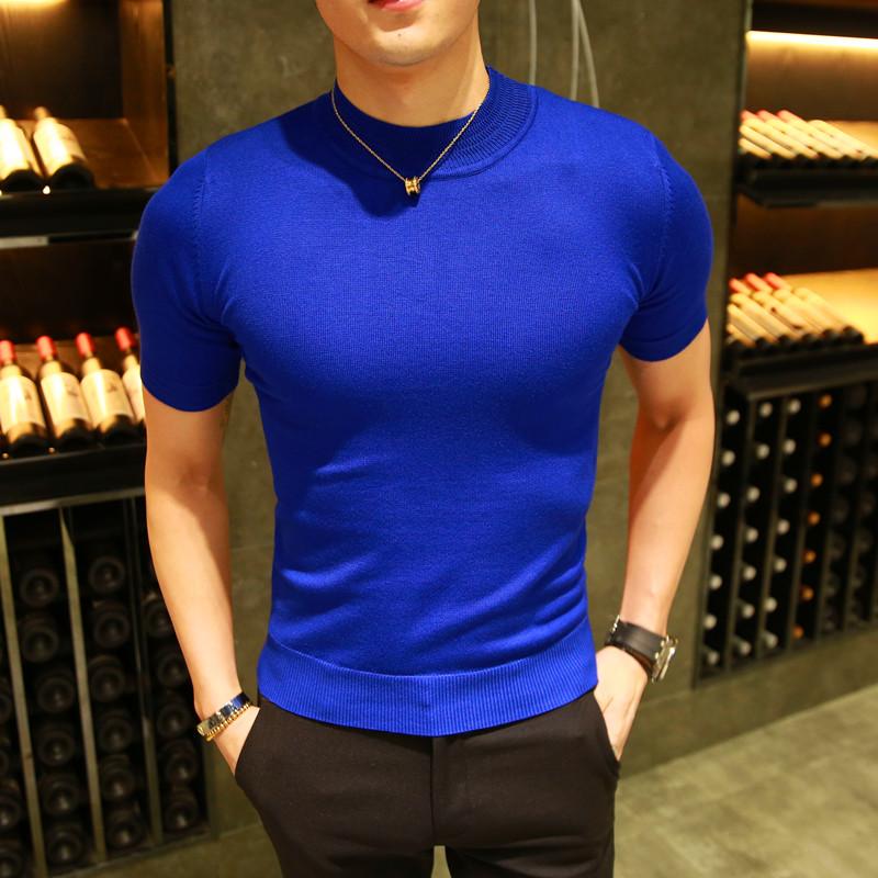 2018 mùa hè người đàn ông mới của nửa cao cổ áo mỏng ngắn tay áo len nam nửa tay áo len màu áo len Hàn Quốc