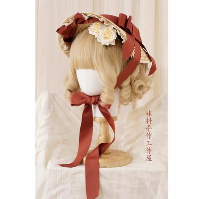 taobao agent 【New deals】Maid original hand-made Hanyang Eclectic Lolita Flat Hat Pseudo Bonnet Straw Hat