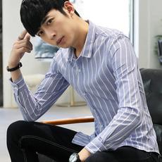 时尚休闲衬衫男长袖修身条纹衬衣免烫韩版薄款寸衫潮流帅正装688
