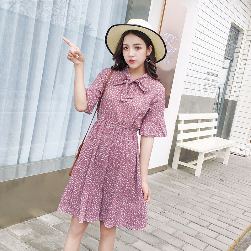 2018 Korean Fashion Pleated Stitched Horn Sleeves Dress