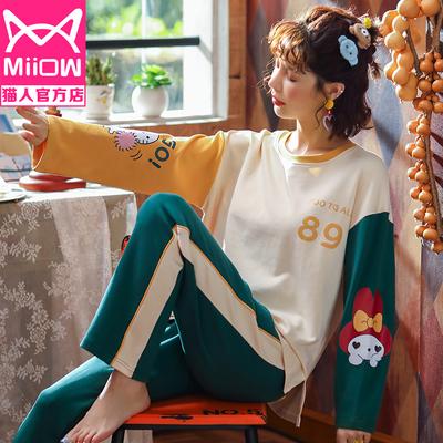 猫人睡衣女春秋纯棉长袖学生ins韩版卡通大码冬季家居服两件套装