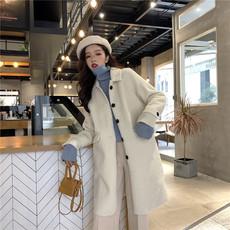 8338  实拍 质检 韩版冬季新款慵懒加厚单排扣立领羊羔毛长款外套
