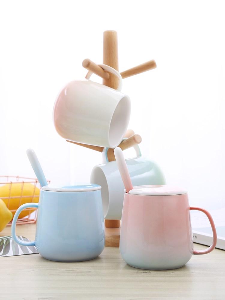 渐变色陶瓷马克杯 创意家用简约情侣陶瓷马克杯