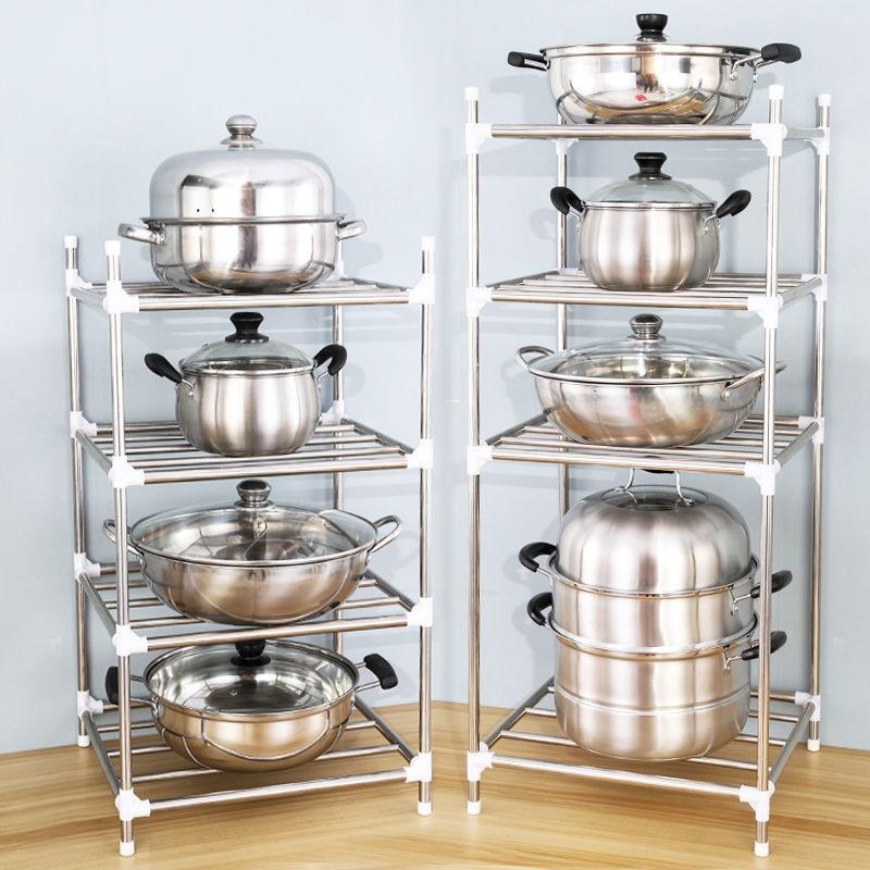 厨房置物架加厚不锈钢多层锅架