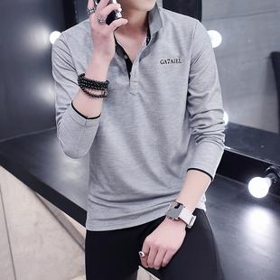 秋季男士薄款T恤长袖polo衬衫